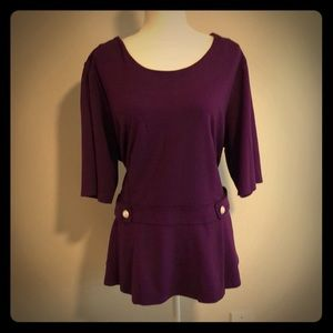 NWT Purple Structured Peplum Top w/ Pearl Details